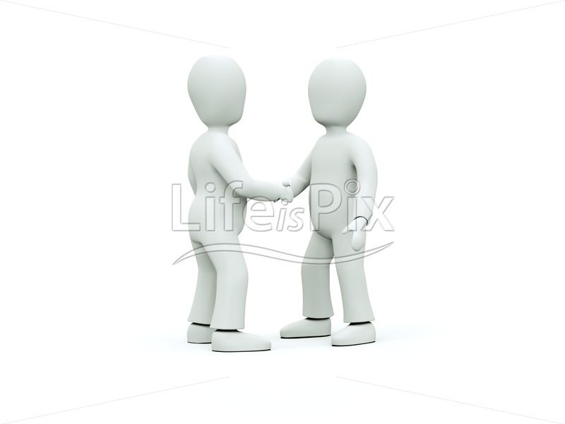 3D characters in ties shake hands – Business concept - Royalty free stock photos, illustrations and 3d letters fonts