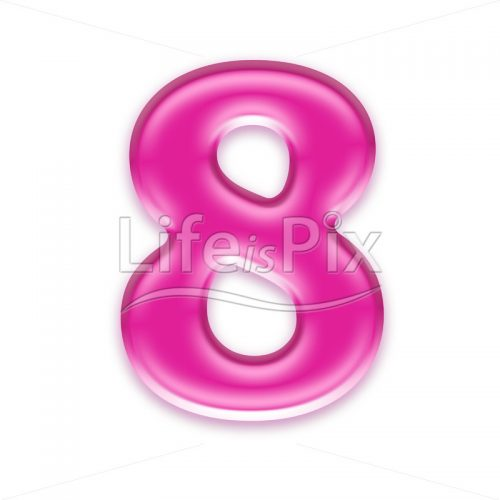3D pink jelly digit isolated on white background – 8 - Royalty free stock photos, illustrations and 3d letters fonts