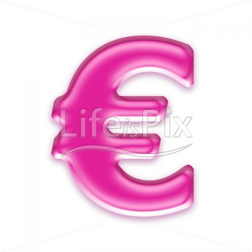 3D pink jelly euro currency sign isolated on white background - Royalty free stock photos, illustrations and 3d letters fonts