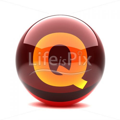3D red glass sphere with orange letter inside – Q - Royalty free stock photos, illustrations and 3d letters fonts