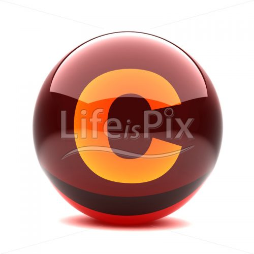 3D red glass sphere with orange letter inside – C – Royalty free stock photos, illustrations and 3d letters fonts