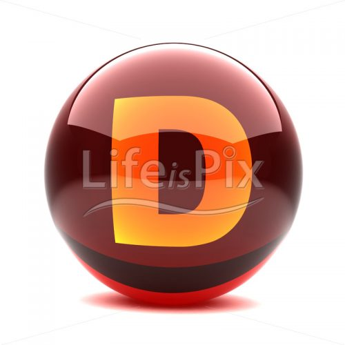 3D red glass sphere with orange letter inside – D – Royalty free stock photos, illustrations and 3d letters fonts