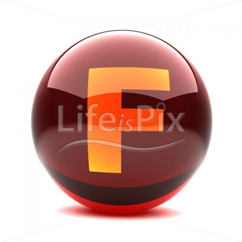 3D-red-glass-sphere-with-orange-letter-inside-F