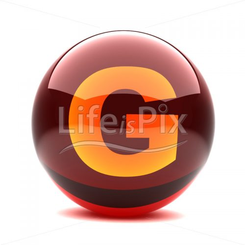 3D red glass sphere with orange letter inside – G – Royalty free stock photos, illustrations and 3d letters fonts
