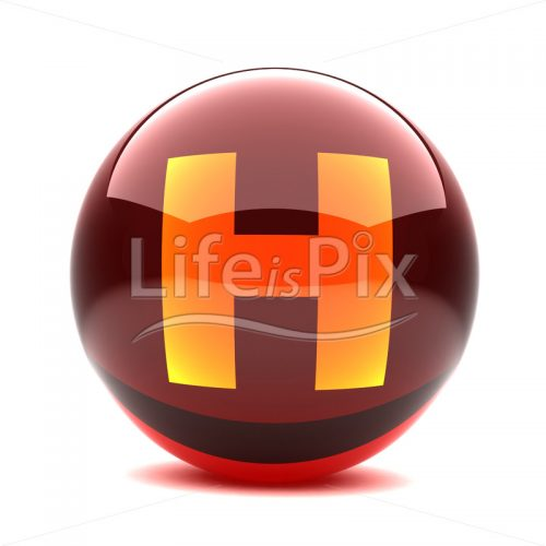 3D red glass sphere with orange letter inside – H – Royalty free stock photos, illustrations and 3d letters fonts