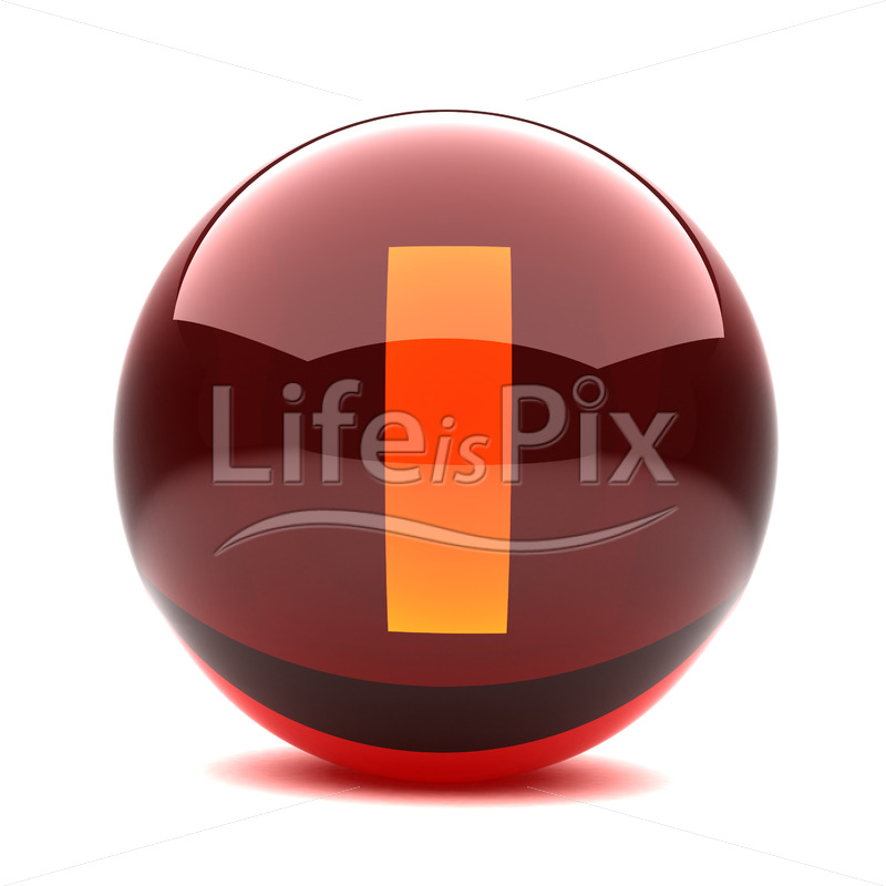 3D red glass sphere with orange letter inside – I – Royalty free stock photos, illustrations and 3d letters fonts