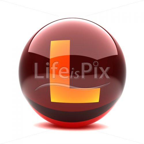 3D red glass sphere with orange letter inside – L – Royalty free stock photos, illustrations and 3d letters fonts
