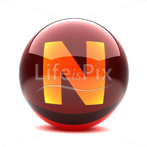 3D red glass sphere with orange letter inside – N – Royalty free stock photos, illustrations and 3d letters fonts