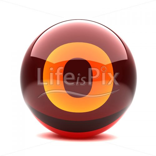 3D red glass sphere with orange letter inside – O – Royalty free stock photos, illustrations and 3d letters fonts