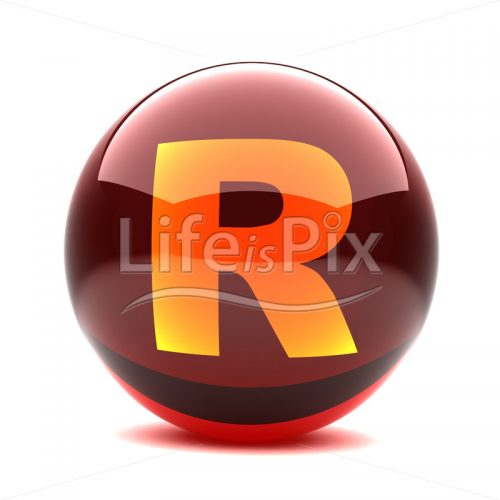 3D red glass sphere with orange letter inside – R – Royalty free stock photos, illustrations and 3d letters fonts