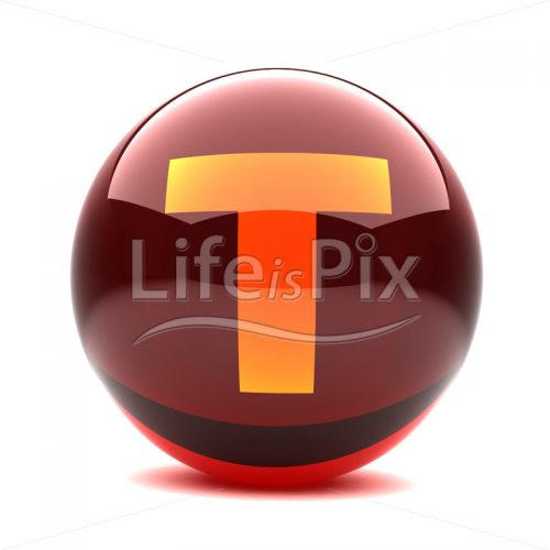 3D red glass sphere with orange letter inside – T – Royalty free stock photos, illustrations and 3d letters fonts