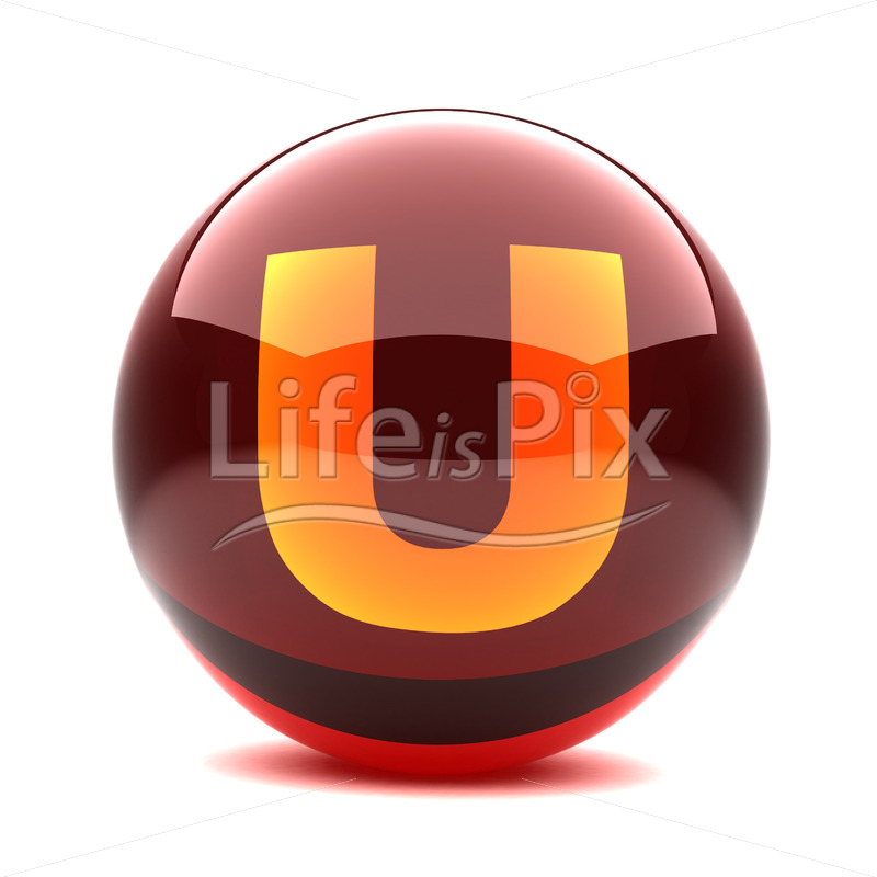 3D red glass sphere with orange letter inside – U – Royalty free stock photos, illustrations and 3d letters fonts