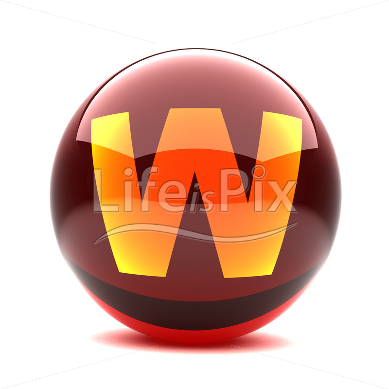 3D red glass sphere with orange letter inside – W – Royalty free stock photos, illustrations and 3d letters fonts