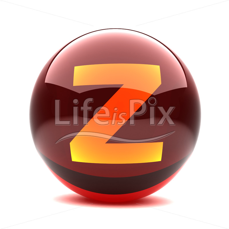3D red glass sphere with orange letter inside – Z – Royalty free stock photos, illustrations and 3d letters fonts