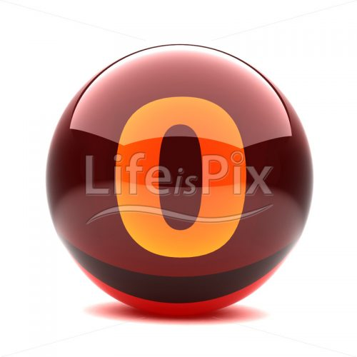3D red glass sphere with orange number inside – 0 – Royalty free stock photos, illustrations and 3d letters fonts