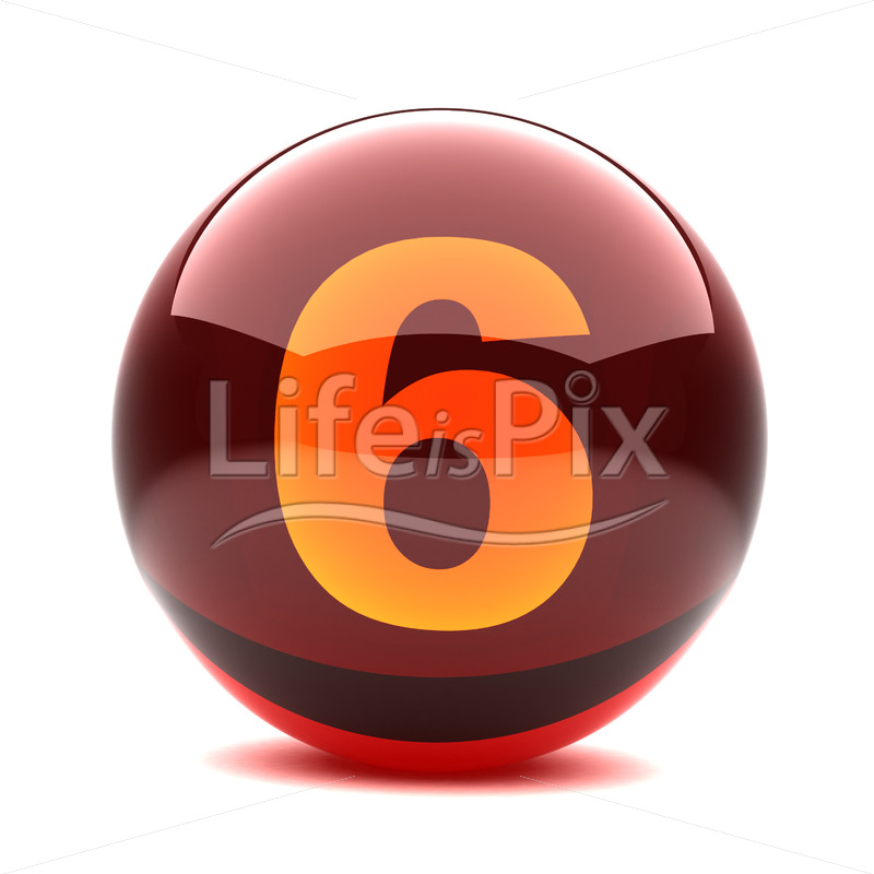 3D red glass sphere with orange number inside – 6 – Royalty free stock photos, illustrations and 3d letters fonts