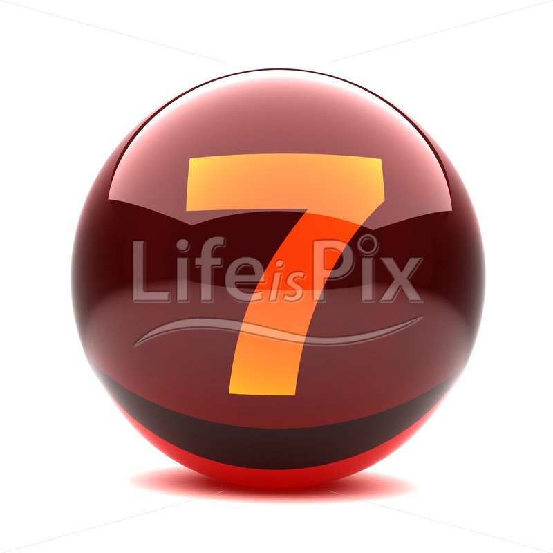 3D red glass sphere with orange number inside – 7 – Royalty free stock photos, illustrations and 3d letters fonts