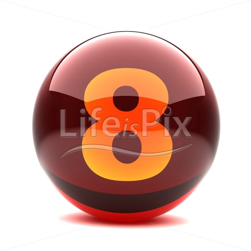 3D red glass sphere with orange number inside – 8 – Royalty free stock photos, illustrations and 3d letters fonts