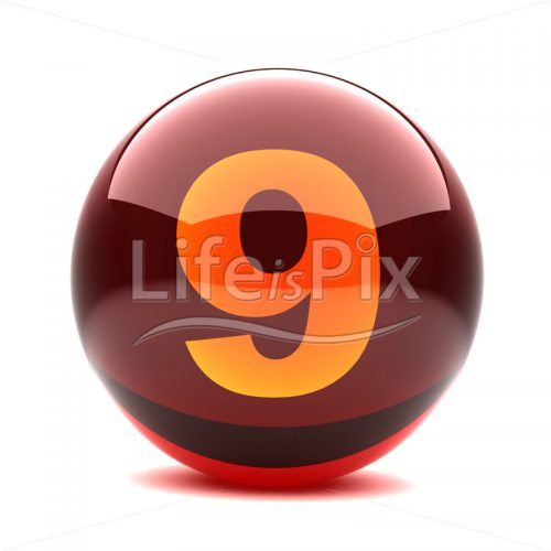 3D red glass sphere with orange number inside – 9 – Royalty free stock photos, illustrations and 3d letters fonts