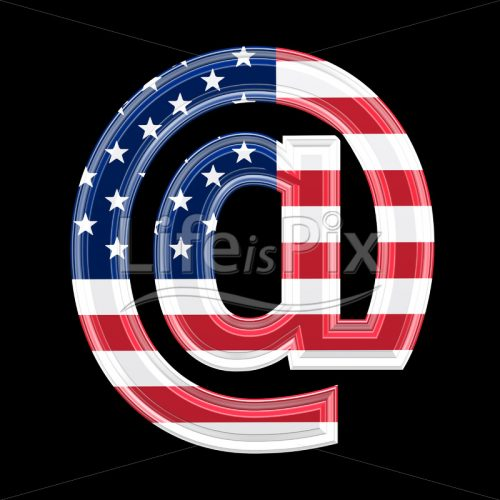 3d arobas sign with us flag texture isolated on black background @ - Royalty free stock photos, illustrations and 3d letters fonts