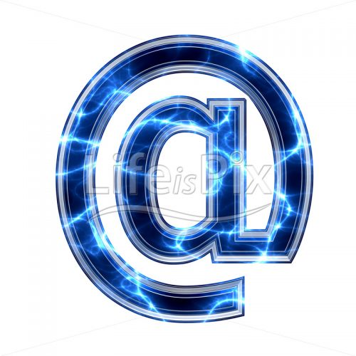 3d at sign with blue lightning texture on white background – @ – Royalty free stock photos, illustrations and 3d letters fonts