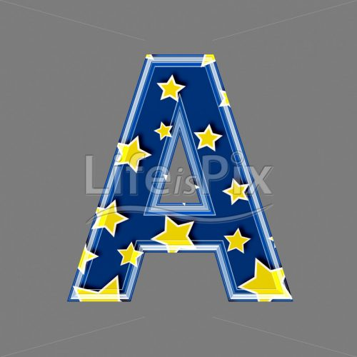 3d blue capital letter with star pattern – A – Royalty free stock photos, illustrations and 3d letters fonts