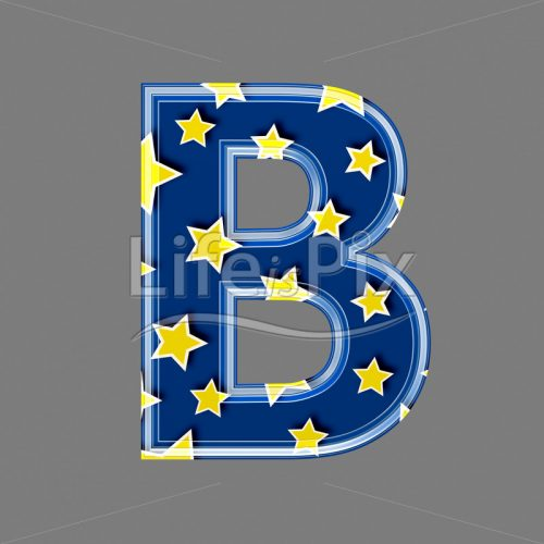 3d blue capital letter with star pattern – B – Royalty free stock photos, illustrations and 3d letters fonts