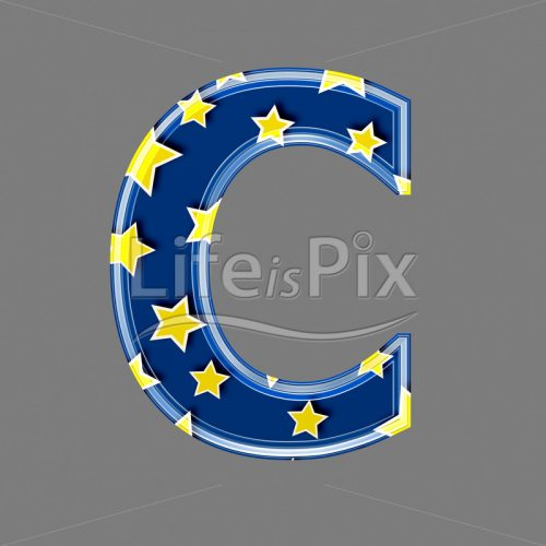 3d blue capital letter with star pattern – C – Royalty free stock photos, illustrations and 3d letters fonts