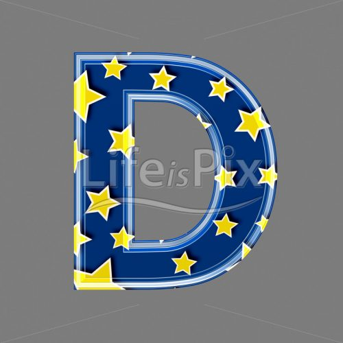 3d blue capital letter with star pattern – D – Royalty free stock photos, illustrations and 3d letters fonts