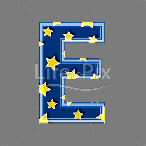 3d blue capital letter with star pattern – E – Royalty free stock photos, illustrations and 3d letters fonts