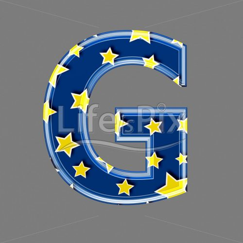 3d blue capital letter with star pattern – G – Royalty free stock photos, illustrations and 3d letters fonts