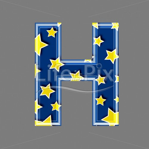 3d blue capital letter with star pattern – H – Royalty free stock photos, illustrations and 3d letters fonts