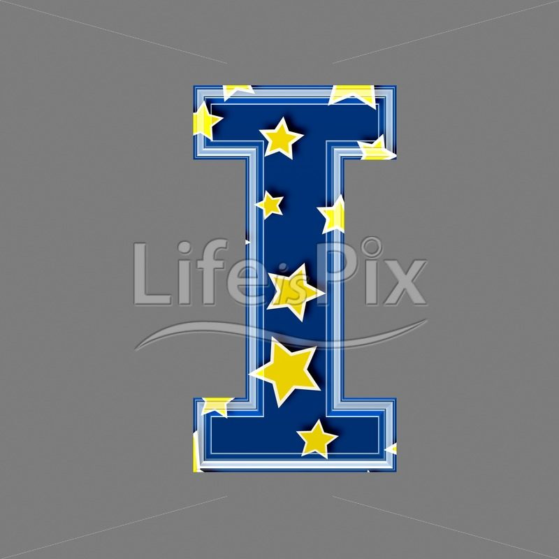 3d blue capital letter with star pattern – I – Royalty free stock photos, illustrations and 3d letters fonts