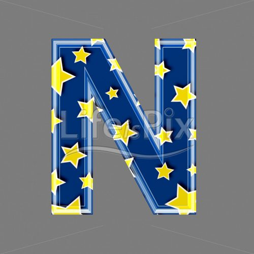 3d blue capital letter with star pattern – N – Royalty free stock photos, illustrations and 3d letters fonts