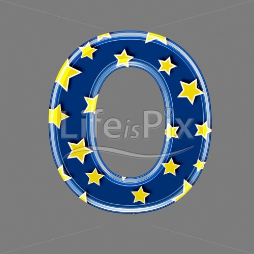 3d blue capital letter with star pattern – O – Royalty free stock photos, illustrations and 3d letters fonts