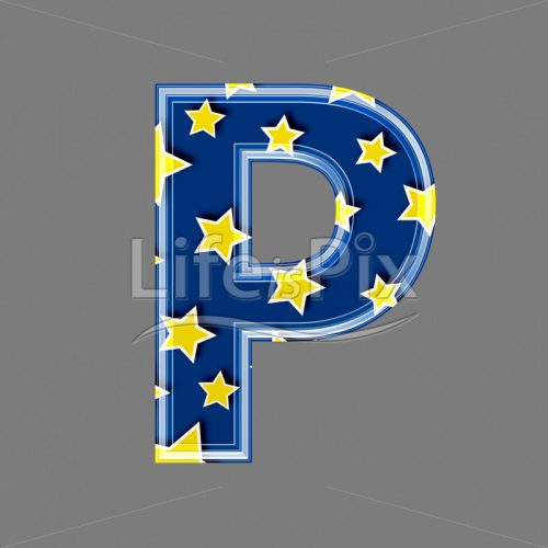 3d blue capital letter with star pattern – P – Royalty free stock photos, illustrations and 3d letters fonts