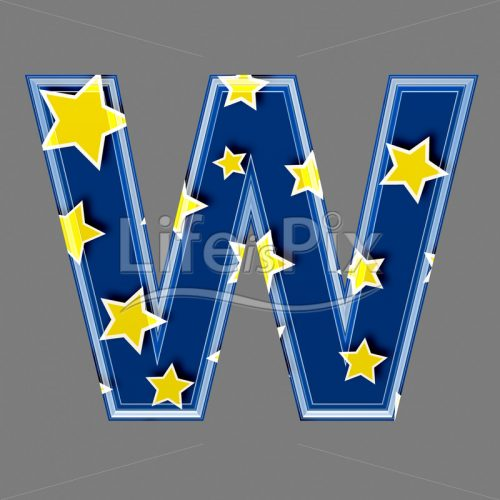 3d blue capital letter with star pattern – W – Royalty free stock photos, illustrations and 3d letters fonts