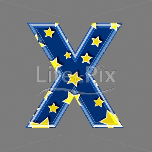 3d blue capital letter with star pattern – X – Royalty free stock photos, illustrations and 3d letters fonts