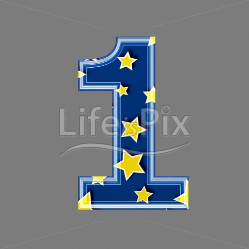 3d blue digit with yellow star pattern – 1 – Royalty free stock photos, illustrations and 3d letters fonts