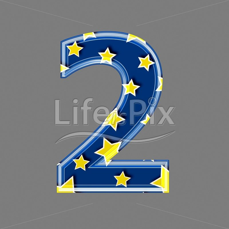 3d blue digit with yellow star pattern – 2 – Royalty free stock photos, illustrations and 3d letters fonts