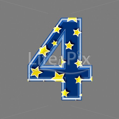 3d blue digit with yellow star pattern – 4 – Royalty free stock photos, illustrations and 3d letters fonts