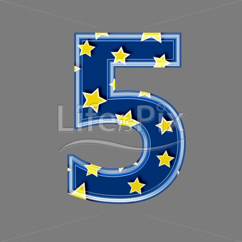 3d blue digit with yellow star pattern – 5 – Royalty free stock photos, illustrations and 3d letters fonts
