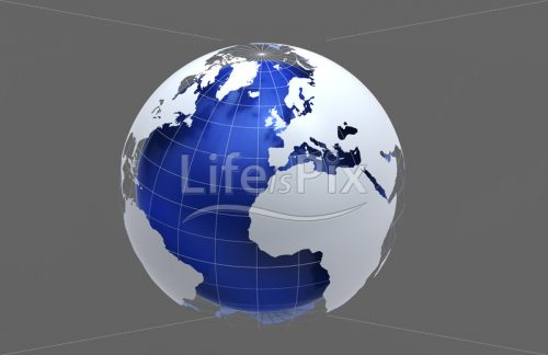 3d blue earth on grey background - Royalty free stock photos, illustrations and 3d letters fonts