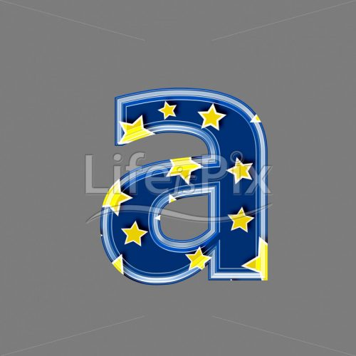 3d blue lowercase letter with star pattern – A – Royalty free stock photos, illustrations and 3d letters fonts