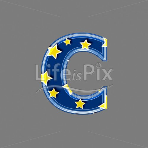3d blue lowercase letter with star pattern – C – Royalty free stock photos, illustrations and 3d letters fonts