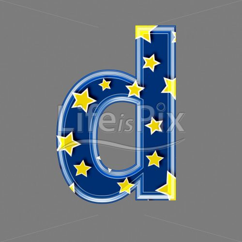 3d blue lowercase letter with star pattern – D – Royalty free stock photos, illustrations and 3d letters fonts