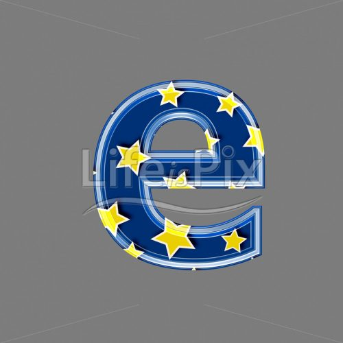 3d blue lowercase letter with star pattern – E – Royalty free stock photos, illustrations and 3d letters fonts