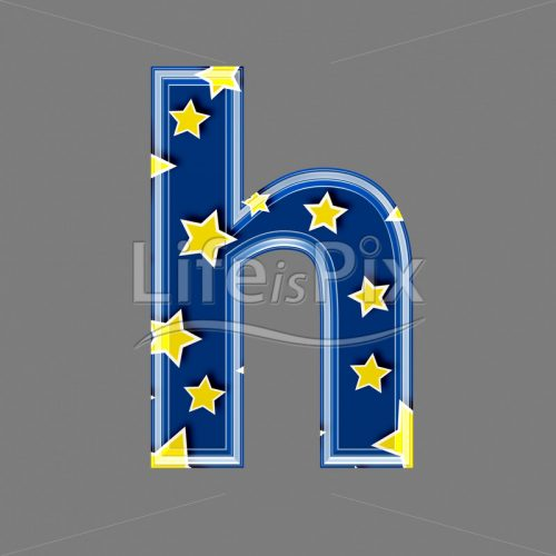 3d blue lowercase letter with star pattern – H – Royalty free stock photos, illustrations and 3d letters fonts