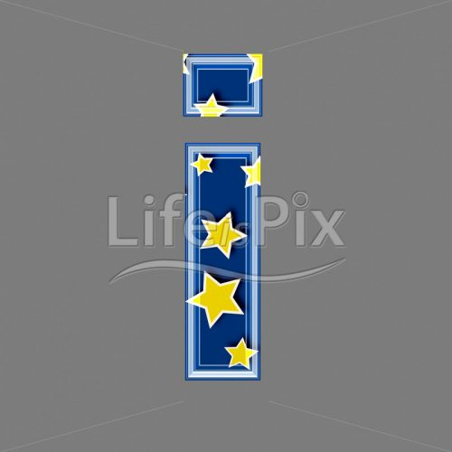 3d blue lowercase letter with star pattern – I – Royalty free stock photos, illustrations and 3d letters fonts