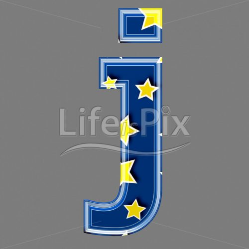 3d blue lowercase letter with star pattern – J – Royalty free stock photos, illustrations and 3d letters fonts